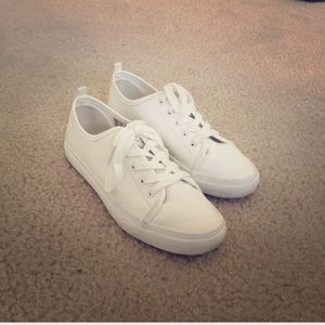 White Tennis Sneakers Faux Leather H&M Divided